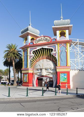 Melbourne - February 22 2016: Entrance to Old City amusement park luna park and a street of the city February 22 2016 Melbourne Victoria Australia