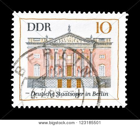 GERMAN DEMOCRATIC REPUBLIC - CIRCA 1969 : Cancelled postage stamp printed by German Democratic Republic, that shows Opera house in Berlin.