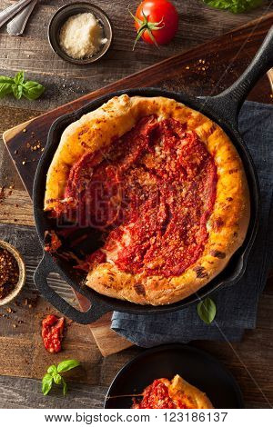 Homemade Skillet Deep Dish Chicago Pizza with Mozzarella