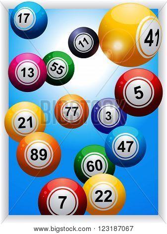 Bingo Balls Over Blue Panel with Lens Flares Background