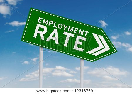 Symbol of declining employment rate with arrow sign pointing down shot under blue sky