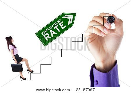 Young businesswoman carrying briefcase and walking on the stairs with employment rate text