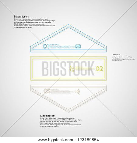 Illustration infographic with shape of hexagon which is divided to three color parts created by double outlines on light background. Each part has simple sign sample text and number.