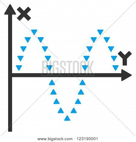 Dotted Sinusoid Plot vector icon. Dotted Sinusoid Plot icon symbol.