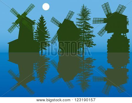 illustration with set of obsolete windmills silhouettes on blue background