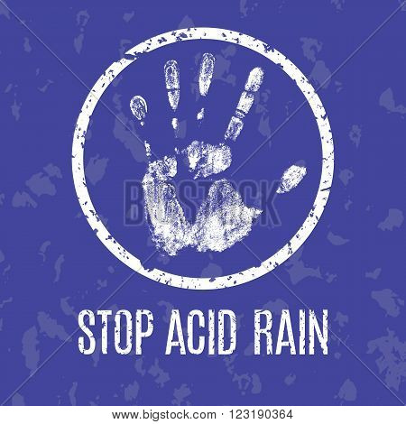 Conceptual vector illustration. Global problems of humanity. Stop acid rain