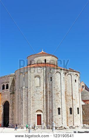 CROATIA ZADAR 20 JUNE 2011: Church of saint Donat in Zadar Croatia from 9th century in Zadar Croatia