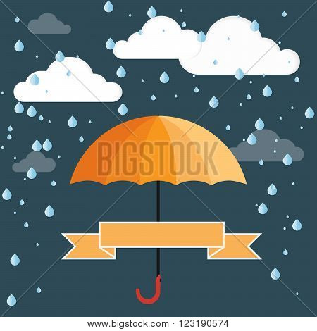 Conceptual illustration. Umbrella on the background of clouds and rain and ribbon for your text.