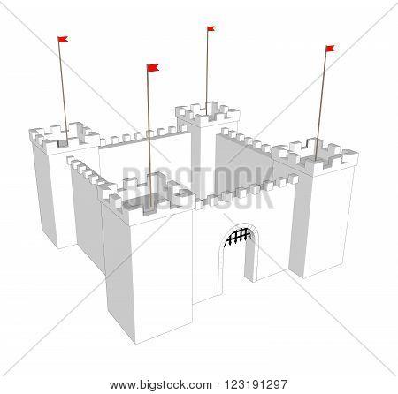 Vector clean castle on white background. Open  door 2