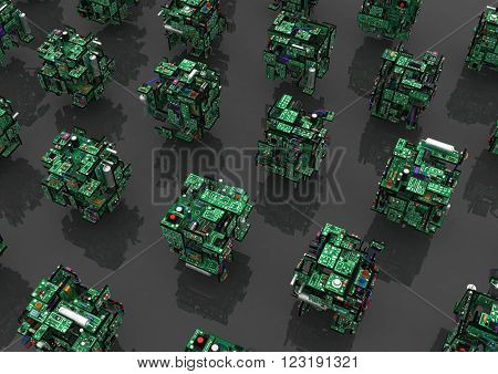 Electronic circuit elements abstract cubes 3d horizontal reflected