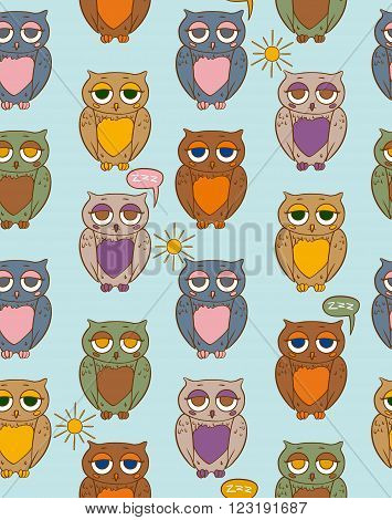 Seamless Vector Pattern with Sleepy Multicilored Owls on a Sunny Day
