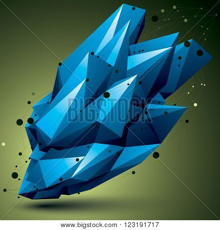 Spatial Technological Bright Shape, Polygonal Colorful Wireframe Object.