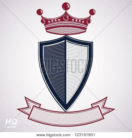 Empire Design Element. Heraldic Royal Coronet Illustration - Imperial Striped Decorative Coat Of Arm