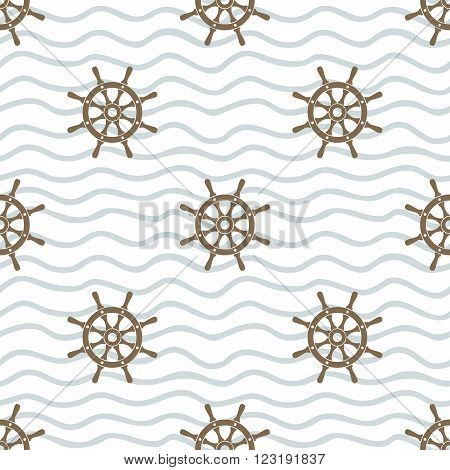 Ship helms vector seamless pattern. Helms and horizontal waved lines seamless texture. EPS8 vector illustration.
