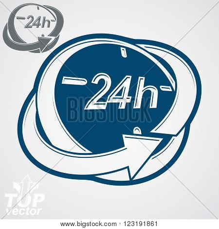 3D Vector 24 Hours Clock Illustration, Includes Additional Version. Day-and-night Dimensional Styliz