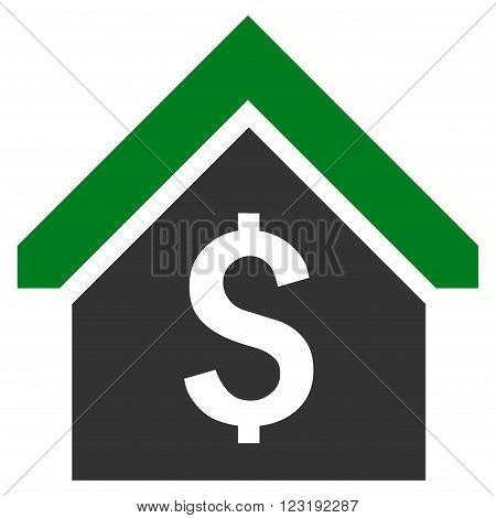Loan Mortgage vector icon. Style is bicolor flat symbol, green and gray colors, white background.