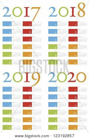 Colorful and elegant Calendar for years 2017 2018 2019 and 2020 in vector format