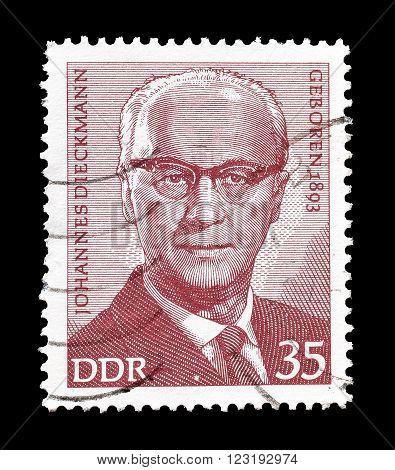 GERMAN DEMOCRATIC REPUBLIC - CIRCA 1973 : Cancelled postage stamp printed by German Democratic Republic, that shows Johannes Dieckmann.