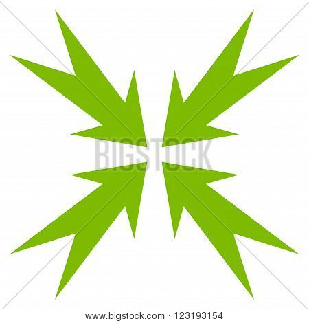 Compression Arrows vector icon. Style is flat icon symbol, eco green color, white background.