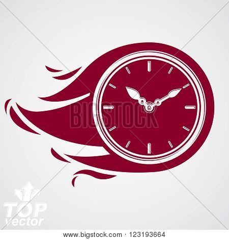 Time Runs Fast Concept, Vector Clock With Burning Flame. Eps 8 Highly Detailed Vector Illustration.