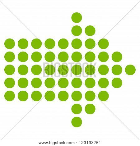 Dotted Arrow Right vector icon. Style is flat icon symbol, eco green color, white background.