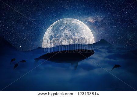 Silhouette of a whale flying above the clouds into the full moon night. Starry sky over the clouds in the mountains. Fantasy surreal landscape scene screen saver.