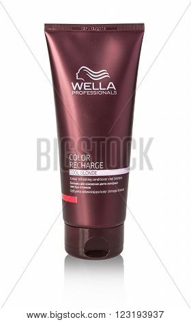 CHISINAU MOLDOVA - March 14 2016;: Tube of Wella Hair colour recharge.. Helps to protect your hair from sun damages. Produced by Wella Germany