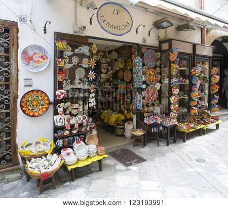 OTRANTO ITALY - April 19 2015 Shop ceramics and gift items in the old quarter of the city Otranto