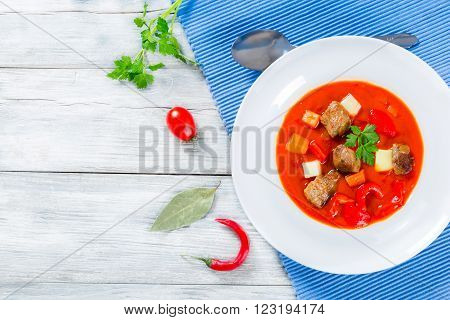 Beef stew with vegetables or goulash traditional hungarian meal
