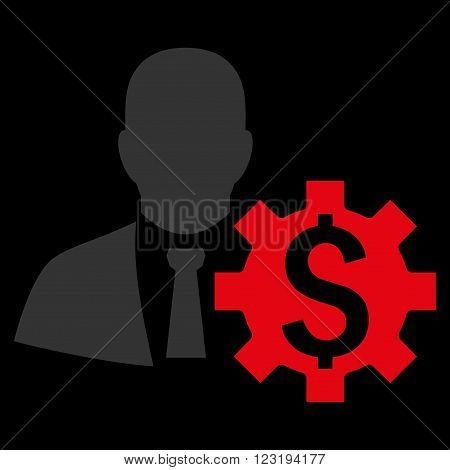 Banker Options vector icon. Style is flat symbol, red color, black background.