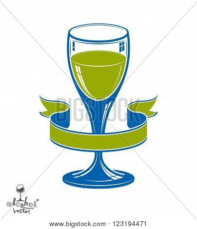Alcohol Theme Vector Art Illustration. Festive Goblet With Decorative Wavy Ribbon, Party And Celebra