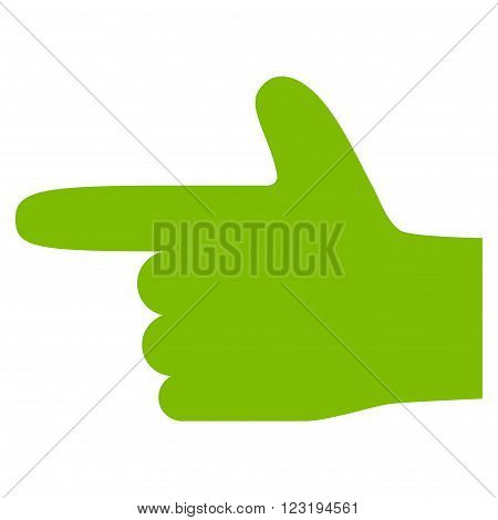 Hand Pointer Left vector icon. Style is flat icon symbol, eco green color, white background.