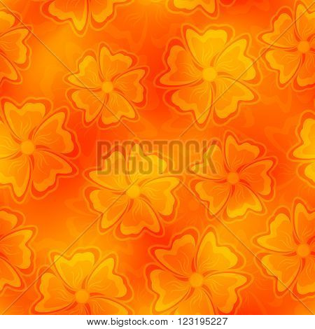 Seamless Texture. Abstract Flowers on a Orange Background. Mesh gradient and Transparency was Used.
