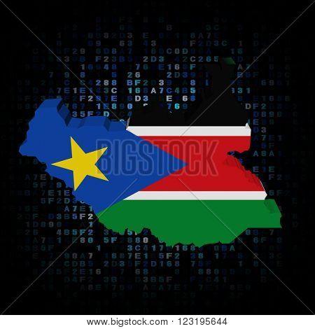 South Sudan map flag on hex code illustration