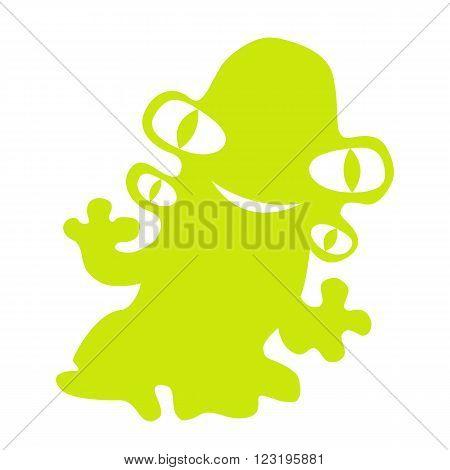 monster mutant green four eyes vector illustration