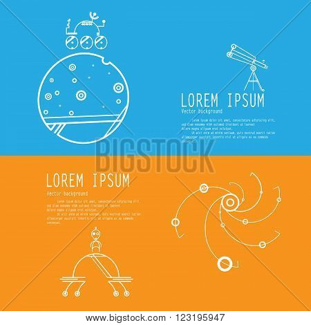 Set banners of space exploration. Space icons modern line style vector. Cosmos icons isolated black background. Space series. Space exploration and adventure symbol.