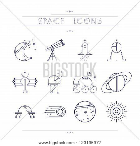 Space icons modern line style vector. Cosmos icons isolated white background. Space series. Space exploration and adventure symbol.