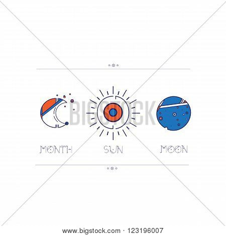 Linear icons sun moon and moon. Space icons modern line style vector. Cosmos icons isolated black background. Space series. Space exploration and adventure symbol.