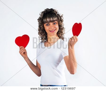 Young Beautiful Girl  Keeps The Heart, Love, Valentine's Day Holiday