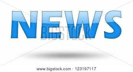 Text NEWS with blue letters and shadow. Illustration, isolated on white
