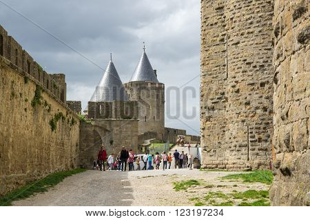 CARCASSONNE, FRANCE - MAY 05, 2015: Medieval castle of Carcassonne Languedoc - Roussillon province France