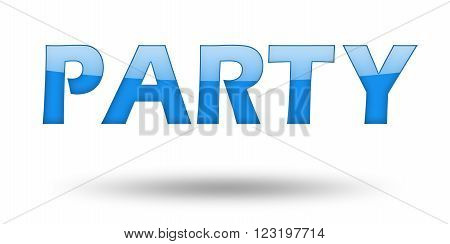 Text PARTY with blue letters and shadow. Illustration, isolated on white