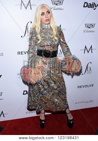 LOS ANGELES - MAR 20:  Lady Gaga arrives to the 2nd Annual Fashion Los Angeles Awards  on March 20, 2016 in Hollywood, CA.