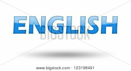 Text ENGLISH with blue letters and shadow. Illustration, isolated on white