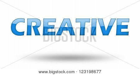 Text Creative with blue letters and shadow. Illustration, isolated on white