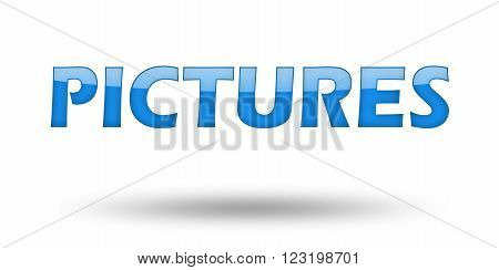 Text Pictures with blue letters and shadow. Illustration, isolated on white