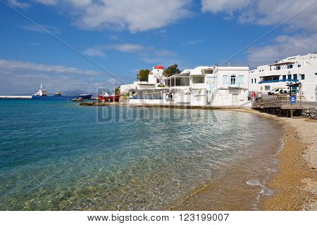 MYKONOS, GREECE - MARCH 06, 2016: Beach in the old harbor of the Mykonos town on March 06, 2016.