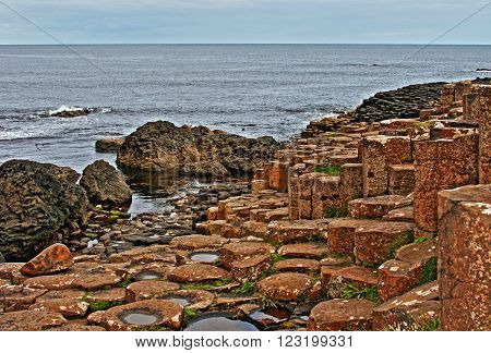 Giants Causeway at Low tide in Northern Ireland along the Irish Coast