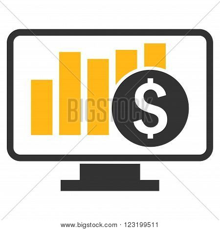 Stock Market Monitoring vector icon. Style is flat symbol, yellow color, white background.