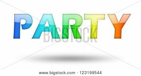 Text PARTY with colorful letters and shadow. Illustration, isolated on white